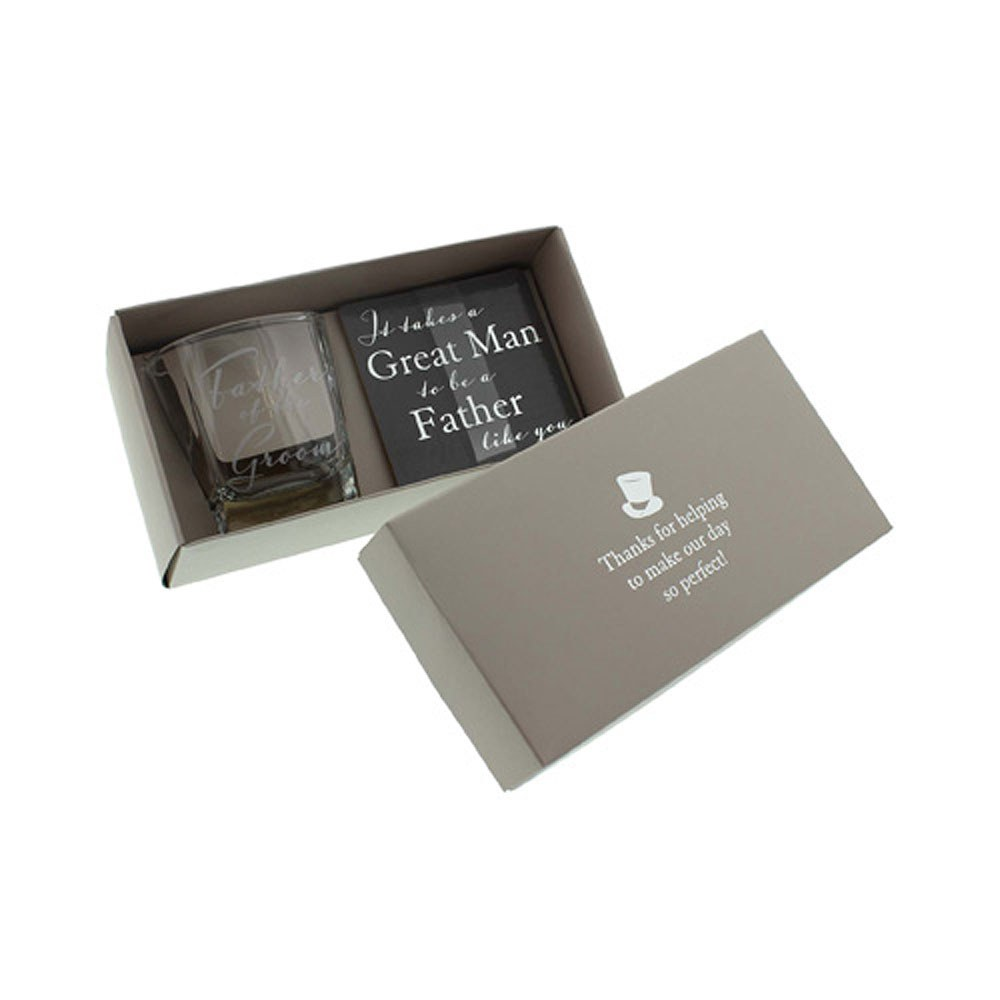 Father of the Groom Whiskey Glass and Coaster Gift Set
