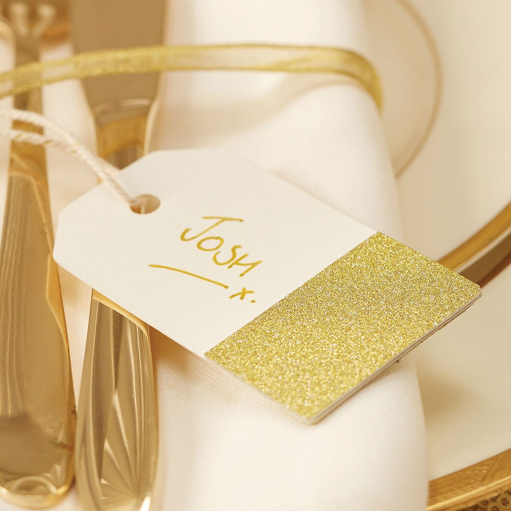 Gold Glitter And Ivory Luggage Tags - 12 Pack
