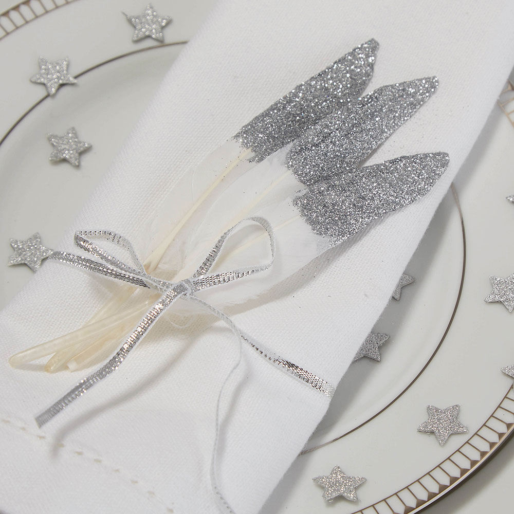 Glitter Silver Feather Decorations - 10 Pack