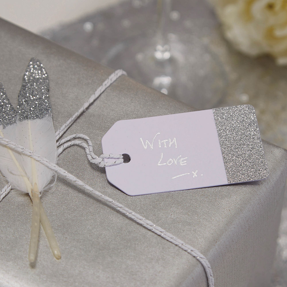 Silver Glitter And White Luggage Tags - 12 Pack