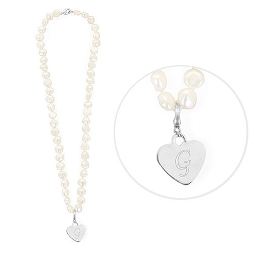 White Pearl Necklace Personalized