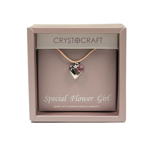 Crystocraft Our Special Flower Girl Necklace with Heart Pendant tBPXT1fs