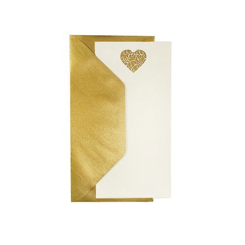 Printable Ivory Heart Invites & Gold Envelopes - 10 Pack