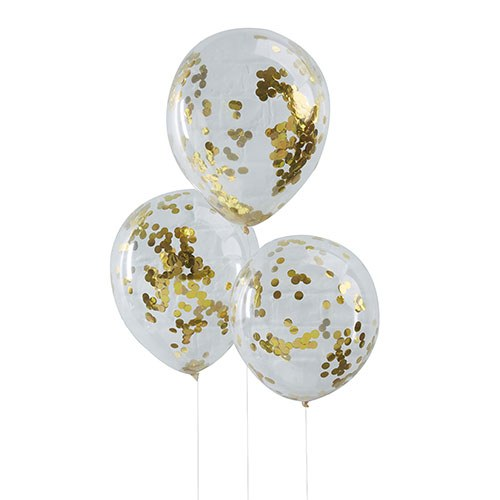 Gold Confetti Balloons - 5 Pack