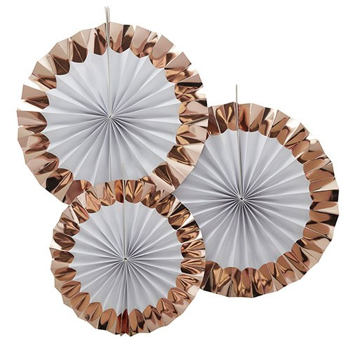 White & Rose Gold Fan Decorations - 3 Pack