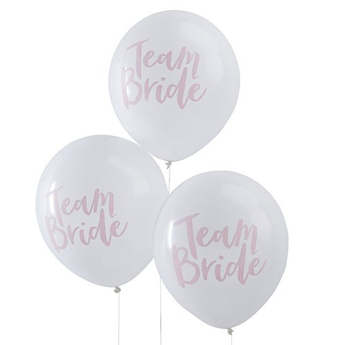 White & Pink Team Bride Balloons Hen Party - 10 Pack