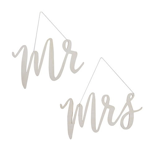 Wooden Mr & Mrs Chair Sign Set