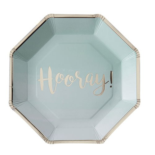 Mint & Gold Foil Hooray Paper Plates - 8 Pack