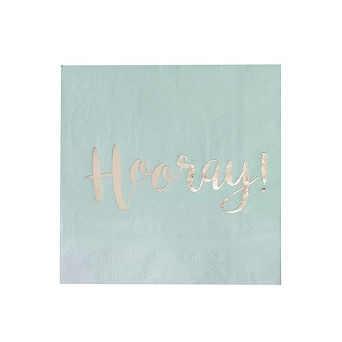 Mint & Gold Foil Hooray Paper Napkins - 20 Pack
