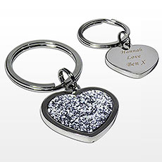 Personalized Diamante Glitter Heart Keyring