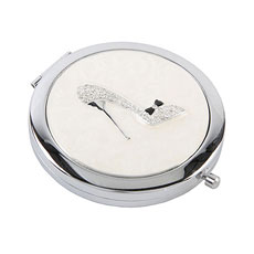 Sophia Silverplated Compact Mirror With Clear Crystal Shoe