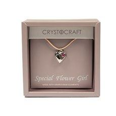 Crystocraft Necklace with Heart Charm-Our Special Flower Girl