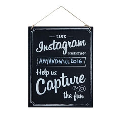 Wooden Instagram Black and White Chalkboard Wedding Venue Sign