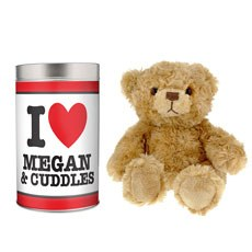 Personalized I Love Heart Teddy in a Tin