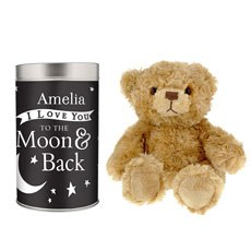 Personalized I Love You To The Moon And Back Teddy In Tin