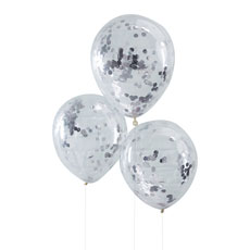 Silver Confetti Balloons - 5 Pack