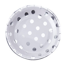 Silver Polka Dot Paper Plates - 8 Pack