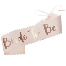 Pink & Rose Gold Bride To Be Paper Sash