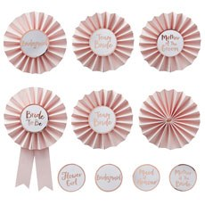 Pink & Rose Gold Hen Party Badges - 6 Pack