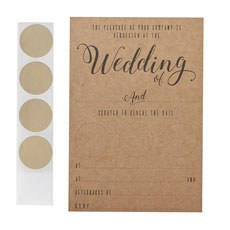Kraft Wedding Scratch Invitations - 10 Pack
