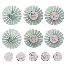 Baby Shower Mint & Rose Gold Foiled Badge Kit