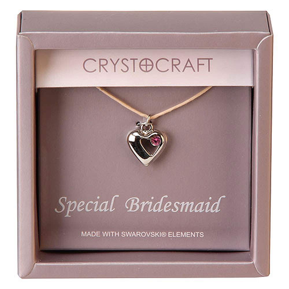 Crystocraft Necklace with Heart Charm-Our Special Bridesmaid