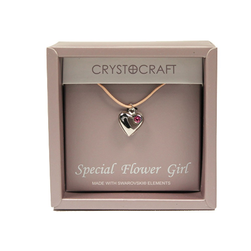 Crystocraft Necklace w/Heart Charm-Our Special Flower Girl