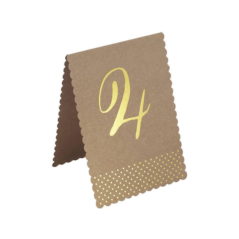 Gold Foil Kraft Table Numbers