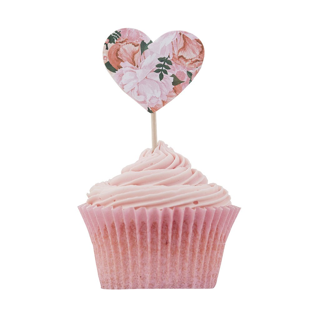 Floral Cupcake Sticks - 10 Pack
