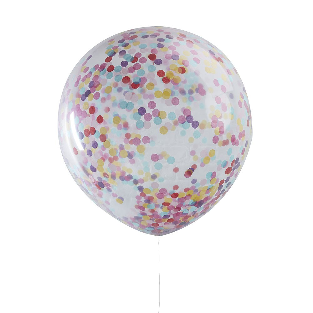 Giant Confetti Colored Balloons - 3 Pack