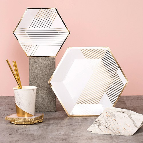 Disposable Wedding Party Paper Plates - Small White with Gold Hexagon
