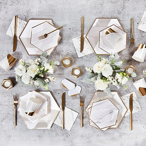 Disposable Wedding Party Paper Cups - Marble with Gold