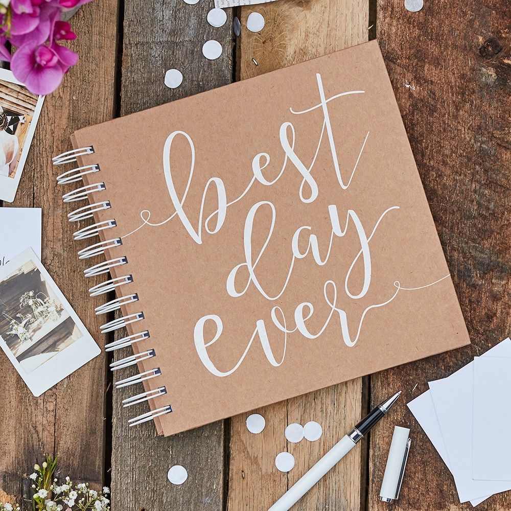 Unique Rustic Wedding Guest Sign-In Book - Envelope and Note Card