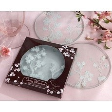 Cherry Blossoms Frosted Glass Coaster Set