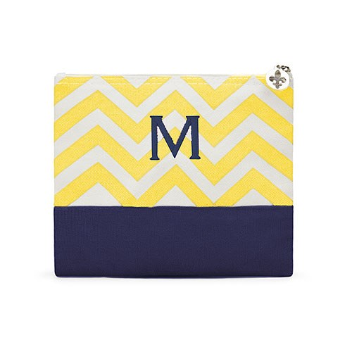Chevron Cosmetic Bag Gold
