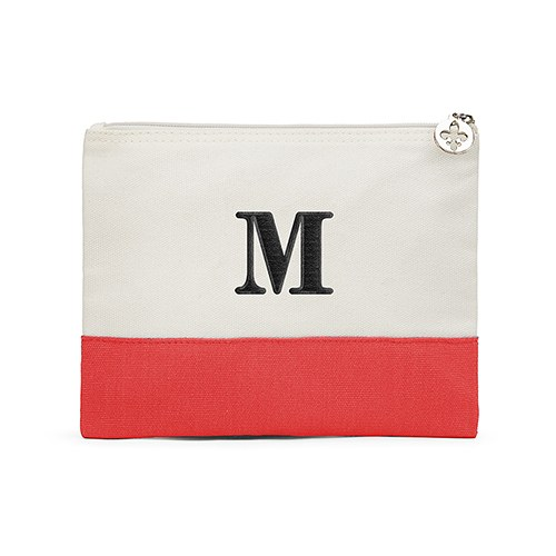 Colorblock Large Zip Pouch Red