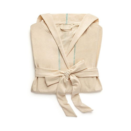 Saturday Hooded Lounge Robe Oatmeal With Aqua Stitching