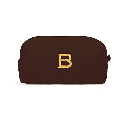 Small Cotton Waffle Cosmetic Bag Brown