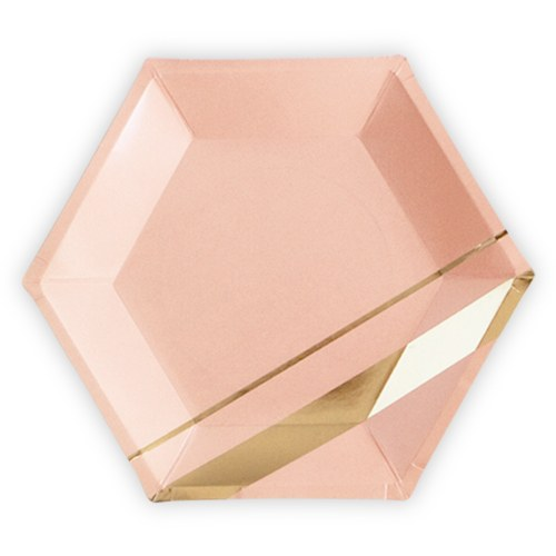 Gold and Blush Hexagon Paper Plates - Large