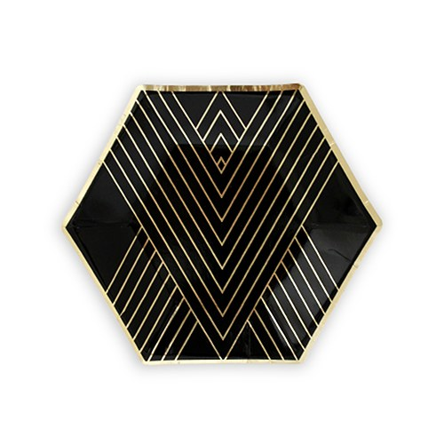 Black & Gold Hexagon Party Plates - Small