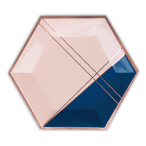 Rose Gold & Navy Hexagon Party Plates - Large
