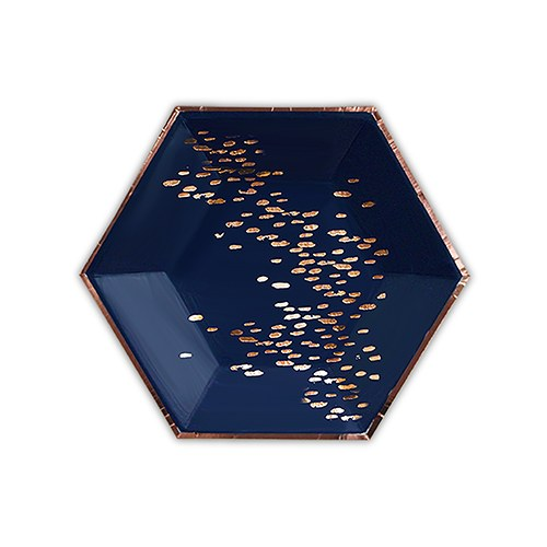 Rose Gold & Navy Hexagon Party Plates - Small