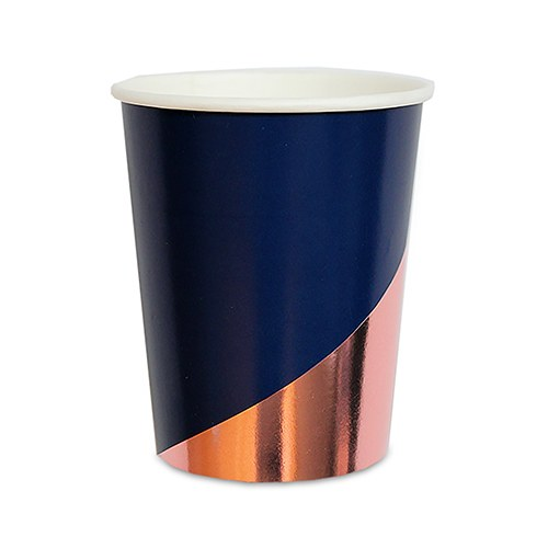 Rose Gold & Navy Paper Party Cups - 9 oz.
