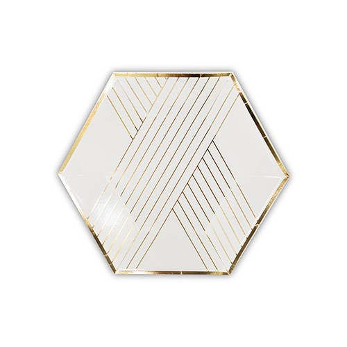 Disposable Wedding Party Paper Plates - Small White with Gold ...