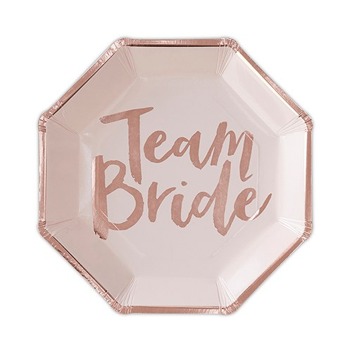 Disposable Rose Gold and Blush Wedding Party Paper Plates - Team Bride