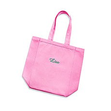 Small Personalized Cotton Canvas Fabric Beach Tote Bag- Pink