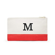 Small Personalized Colorblock Makeup Bag- Coral / Soft Red