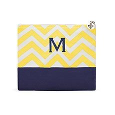 Large Personalized Chevron Makeup Bag- Gold and Navy