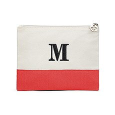 Large Personalized Colorblock Makeup Bag- Coral / Soft Red