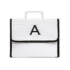 Women's Personalized Stand Up Cotton Waffle Makeup Bag- White
